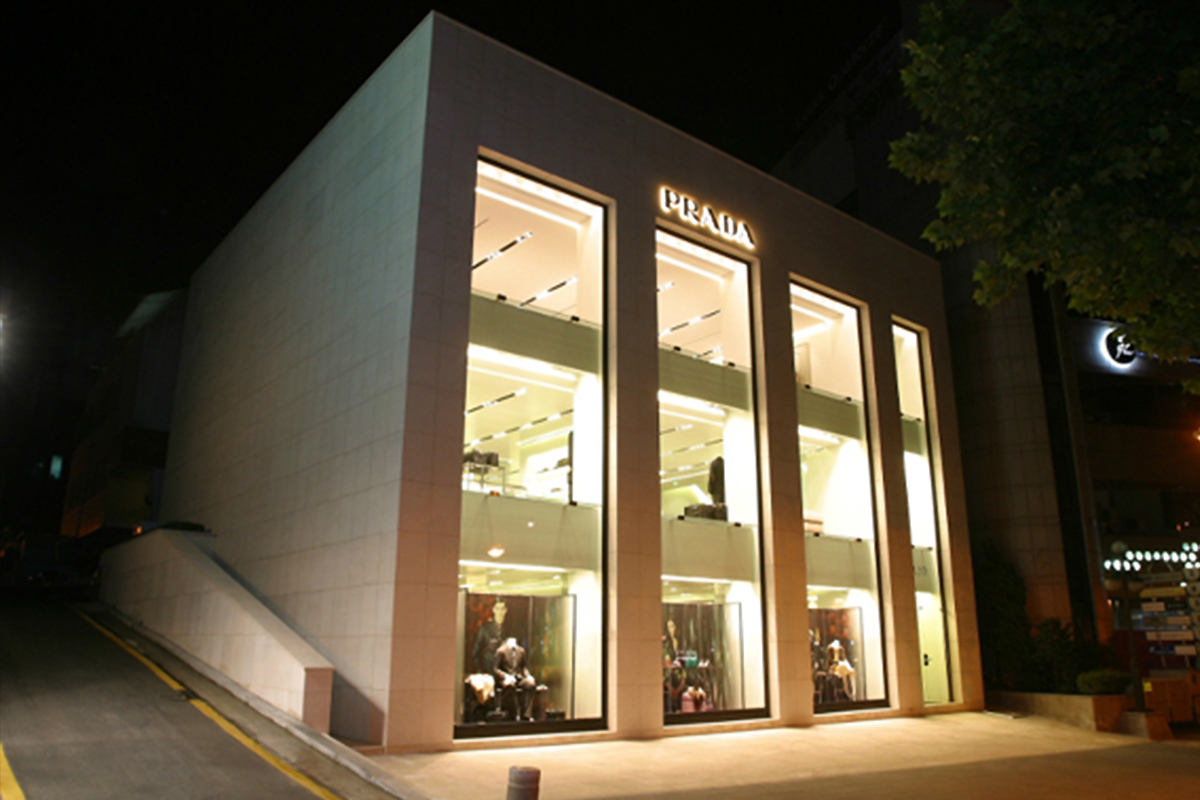 Boutique, Prada - Seoul Cheongdam, Seoul, Sud Korea, 1999 | Rivestimento esterno Materiale: Limestone grigio